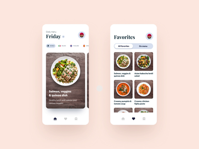 Office canteen food app animation ordering food ui interface design clean app
