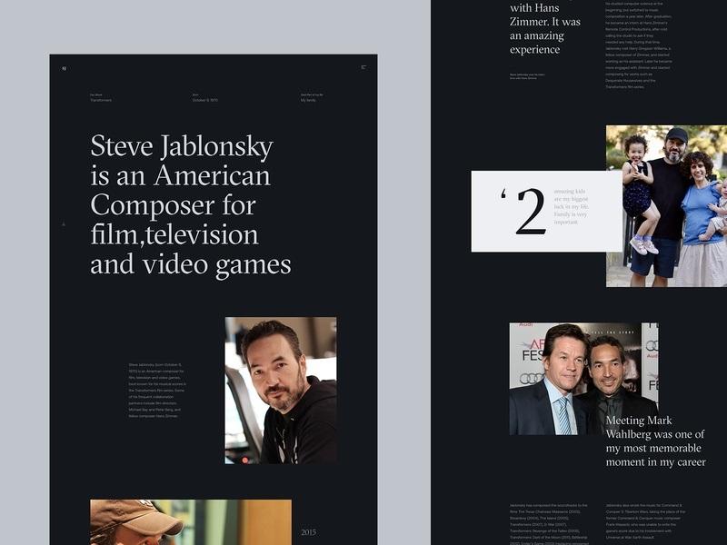 Steve Jablonsky Website Concept - About music jablonsky steve transformers editorial typography minimalistic webdesign interface ux ui