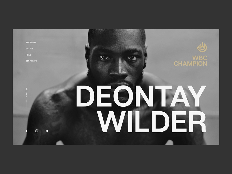 Deontay Wilder Official Concept wilder deontay boxing champion wbc typography art editorial typogaphy minimalistic webdesign interface