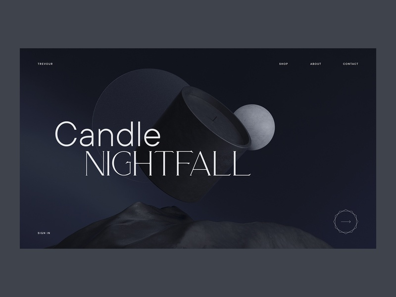 Candle Nightfall candle interaction minimalistic webdesign interface ui editorial shop typography cinema4d render 3d course class online
