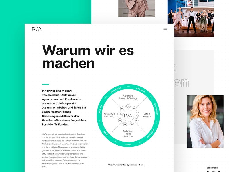 Why we do it - PIA Group Website ui ux artdirection black black  white agency
