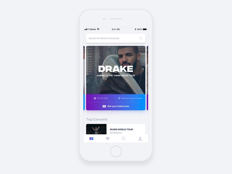 Concert Ticket App // Day 73 event ticket music concert app interface ux ui