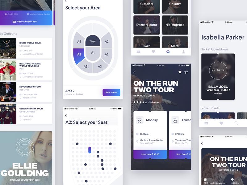 Concert App // Day 75 typography ticket behance ux ui interface app concert