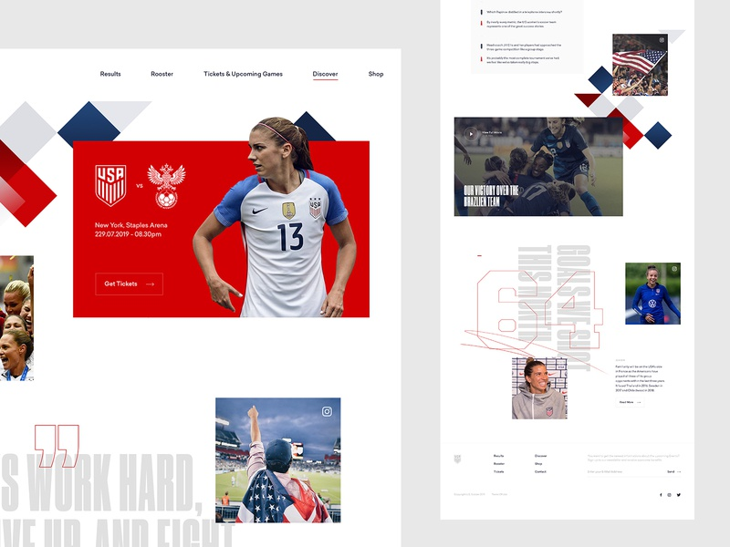 U.S. Women's National Soccer Team Concept - Discover usa us womens women national soccer football team fifa worldcup ui ux art direction interaction web