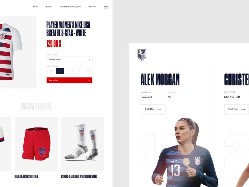 U.S. Women's National Soccer Team Concept - Rooster & Shop usa us womens women national soccer football team fifa worldcup ui ux art direction interaction web