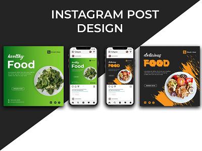 Social media post design. food instagrasm post vector design ad social media post