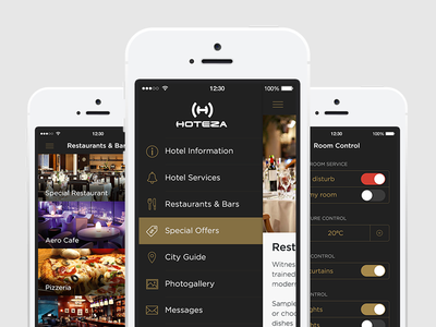 The whole hotel in one app! reception cart hotel app mobile clean flat minimal iphone hotel app ui ios