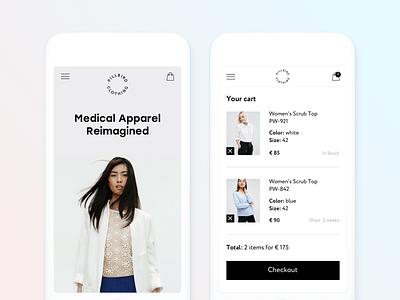 Pillbird Clothing white minimal adaptive cart mobile e-commerce medical shop