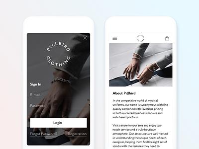 Pillbird Clothing about login minimal adaptive mobile e-commerce medical shop