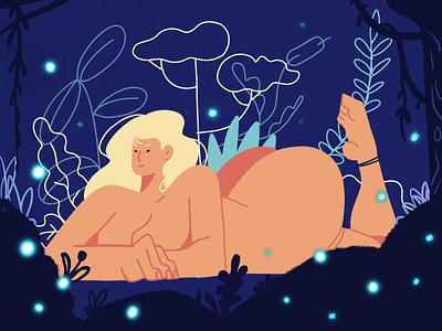 Eve girl character woodland illo procreate brush nature girl procreate app