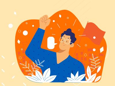 Quartz Leader iconography icon flag protest victory eyeglasses blue and white orange infographic design leadership leader