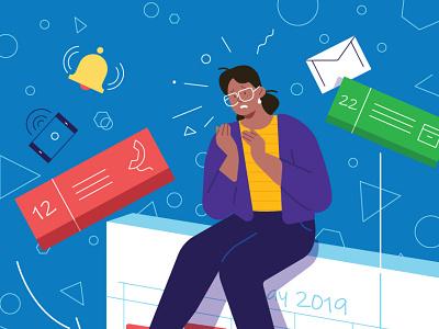 AARP editorial illustration business woman diary calendar device editorial illustration