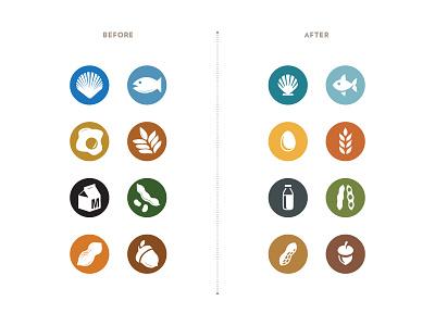 Allergen Icons dairy nuts gluten wheat fish peanut illustration food allergy allergen symbol icons