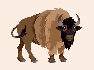 National Parks Bison illustration cute animal buffalo bison brush brushy texture paint park national park foundation national parks