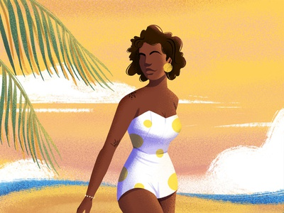 Sunny day illustration art praia vintage retro illustration beach