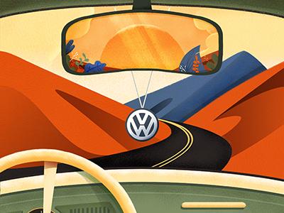 Yorokobu Contra La01 Driblle moutain road car road trip volkswagen back cover illustration cover yorokobu
