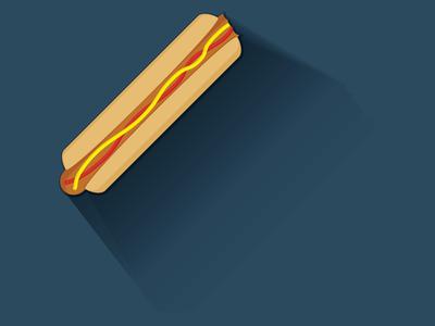 Hotdog wiener hot dog shadow illustration