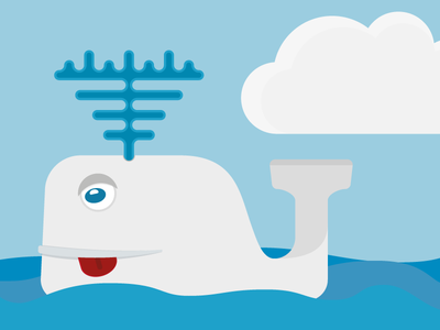 Val whale water cloud swimming illustrator splash illustration ocean