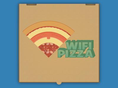 Pizza Wifi cheese salami slice pepper pizza wifi illustration box