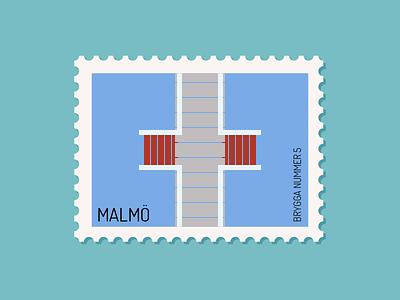Malmö - Brygga 5 brygga 5 illustration vector design ribbersborg ribban malmö bridge water coast swimming beach postage stamp stamps sweden