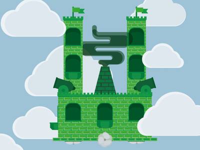 Sky castle clouds cannon fortress sky castle flying high up