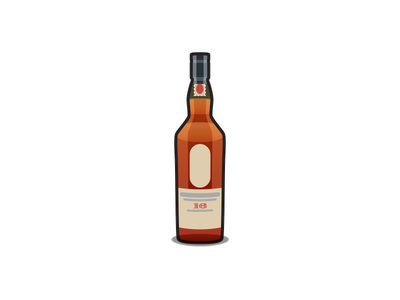 Lagavulin whisky drink alcohol vector icon lagavulin illustration whiskey bottle ron swanson