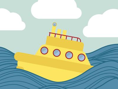 Submarine waves submarine water sea clouds vector illustration yellow