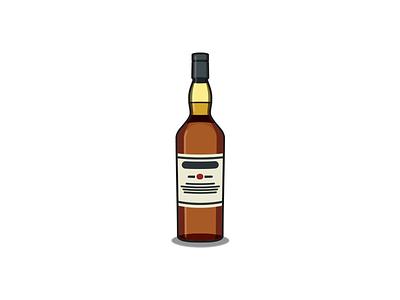 Caol Ila whisky drink alcohol whiskey icon bottle vector illustration