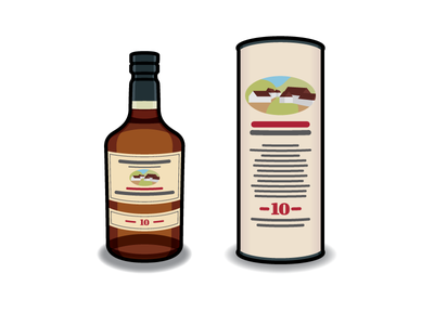 Edradour #2 packaging package whisky drink alcohol whiskey icon bottle vector illustration edradour