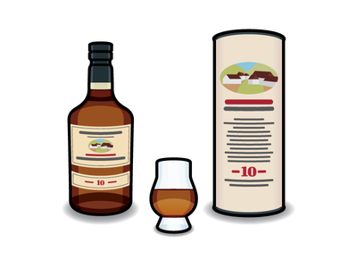 Edradour #3 edradour package packaging whisky whiskey icon bottle alcohol vector illustration drink glass