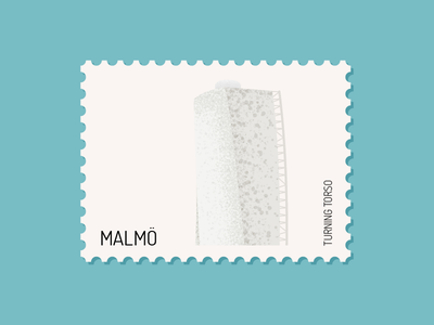 Malmö - Turning Torso postage postage stamp stamps shading grain texture noise shade turning torso santiago calatrava city sweden stamp building architect malmö design vector illustration