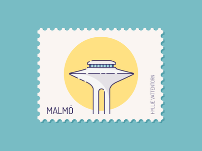 Malmo - Hyllie vattentorn hyllie sweden stamps stamp postage stamp postage skyline city building architecture architect tower water malmö design vector illustration