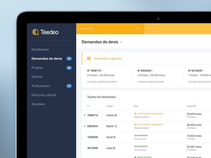 Teedeo back office tool back office translation startup source ui teedeo