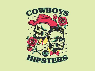 Cowboys Vs Hispters roses flowers flash tattoo tattoo illustration colorado denver beer label craft beer craftbeer hipster cowboys