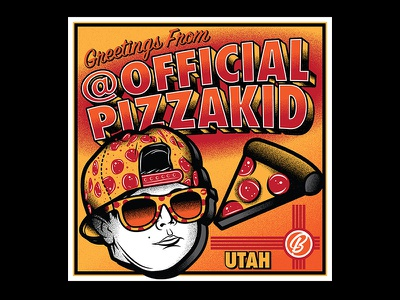 Greetings From Official Pizza Kid  vector illustration greeting pizza pizza kid officialpizzakid