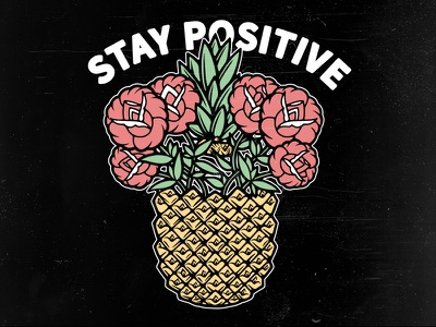 Floral Pineapple tropical fruit stay positive floral pineapple