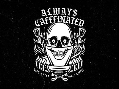 Always Caffeinated traditional mug skeleton black  white flower skull brew caffeinated caffeine coffee