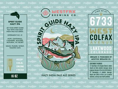 Spirit Guide Hazy IPA Label beer art beer can mountains trout rainbow trout fish beer branding explore adventure mountain illustration beer label craft beer beer