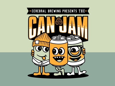 Cerebral Can Jam craft beer beer cartoon illustator mascot illustration can jam