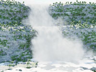 Waterfall - Blender art landscape particle waterfall 3d modeling art blender