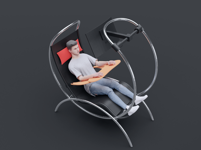 Zero Gravity Workstation 3d gaming no moving parts manufacturing industrial design ux ergonomics zero gravity work station product design