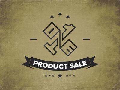 One Product Sale Logo brand branding texture star sale product one one product sale ops logo retro