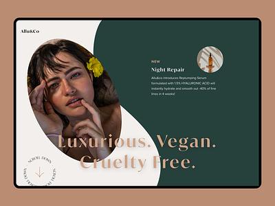Skincare Ecommerce  Home Page logo branding illustration animation web design app product design ux ui