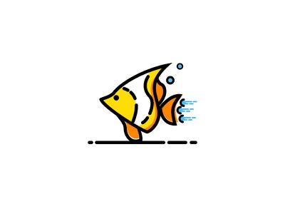 Cute Fish vector icon illustration fast water bubble lineart line cute fish