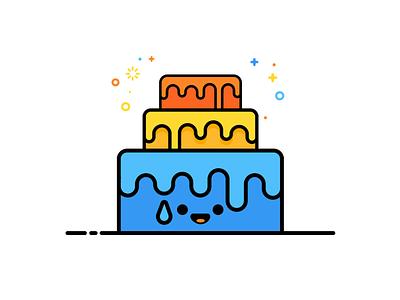 Birthday Cake (MBE style) colourful illustration cake mbe birthday
