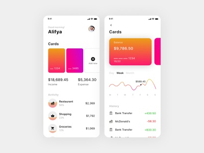 Wallet App payment website bank app mobile pay card analytics numbers graph wallet design daily ui ux ui