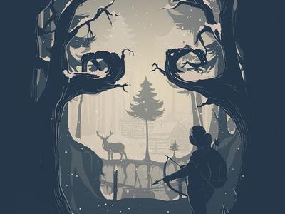 Winter Hunt the last of us winter hunt deer girl skull landscape forest illustration nerd video game playstation