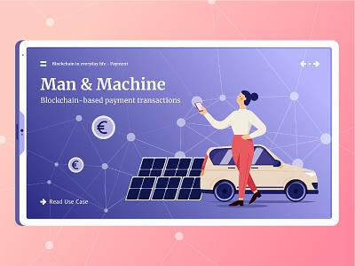Understanding Blockchain – Man & Machine website webdesign tablet ipad girl car blockchain web app icon ux ui character editorial infographic art vector graphic design illustration