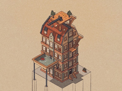 Housing 3.0 sketchbook sketch architecture isometric art isometry isometric surreal summer house procreate illustrator vector art print editorial drawing art vector graphic design illustration
