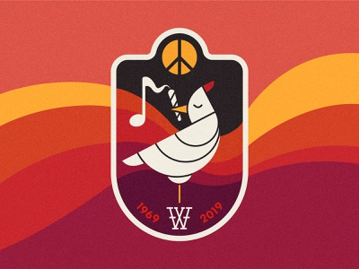 Woodstock 50 peace music vector illustration flat logo anniversary patch festival bird adobe illustrator graphicdesign illustrator vectorart woodstock art drawing vector graphic design illustration